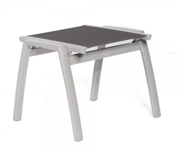 Sonnenpartner Hocker Star, Aluminium silber / Textilgewebe schwarz-silber