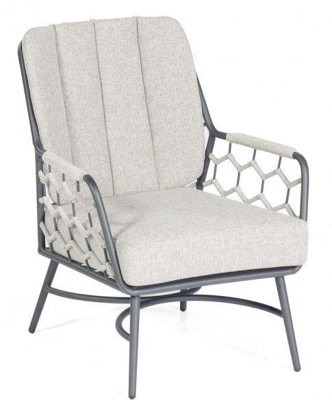 Sonnenpartner Lounge-Sessel Yale, Aluminium / Kunststoffgeflecht Polyrope silbergrau
