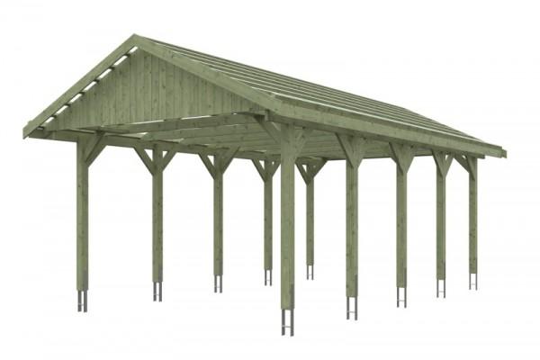 Skan Holz Satteldach-Carport Wallgau 430 x 750 cm, imprägniert