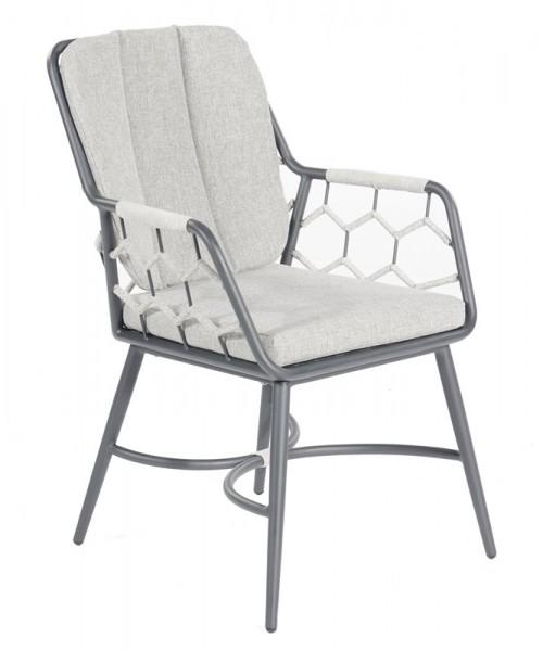 Sonnenpartner Sessel Yale, Kunststoffgeflecht Polyrope, silbergrau, inkl. Kissen