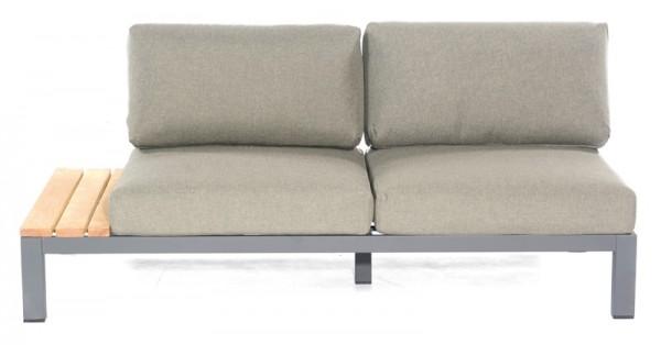 Sonnenpartner Lounge-Eckmodul Equila, 2-Sitzer links, Aluminium anthrazit / Teakholz, inkl. Kissen
