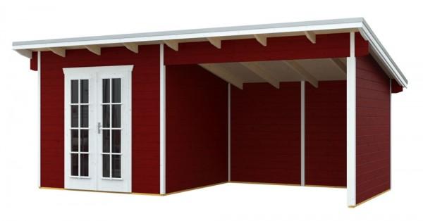 Skan Holz Gartenhaus Texel, 550 x 250 cm, 28 mm, schwedenrot