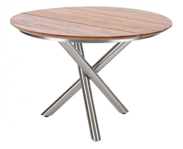 Diamond Garden Tisch San Marino rund, Edelstahl/3 Planken, Recycled Teak Natur, Ø 120 cm