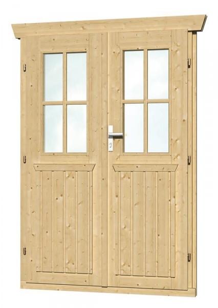 Skan Holz Doppeltür 117,5 x 179,5 cm für 28 mm Blockbohlen, halbverglast