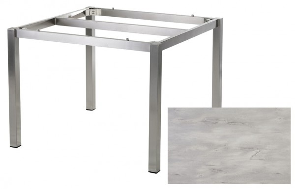 Diamond Garden Tisch San Marino, Edelstahl/Nautic Oak, 100 x 100 cm