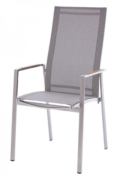Diamond Garden Stapelstuhl hoch Nr. 7, Edelstahl/DiGaLan®-Textilene, braun/tricolor