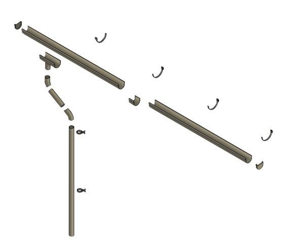 Skan Holz Kunststoff-Regenrinnen-Set 400 cm Länge für Flachdachcarports