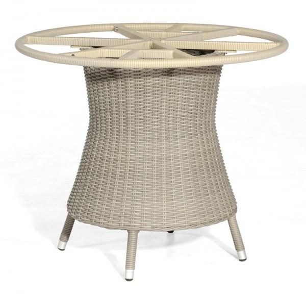Sonnenpartner Tisch Base-Polyrattan rund, Kunststoffgeflecht stone-grey, Ø 100 cm