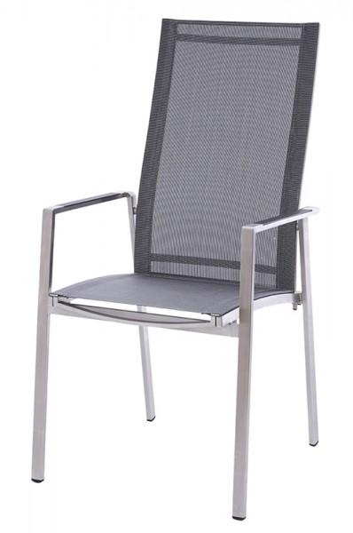 Diamond Garden Stapelstuhl hoch Nr. 6, Edelstahl/DiGaLan®-Textilene, schwarz/silber