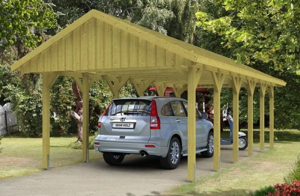 Skan Holz Satteldach-Carport Sauerland 430 x 900 cm, imprägniert, mit Dachlattung