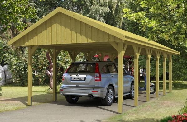 Skan Holz Satteldach-Carport Sauerland 430 x 900 cm, imprägniert, mit Dachschalung