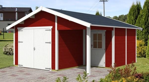Skan Holz Holzgarage Visby 2, 28 mm, 500 x 525 cm, schwedenrot/weiß