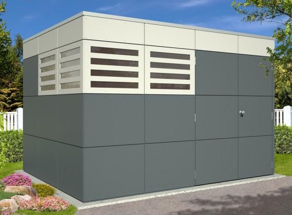 Skan Holz CrossCube-Haus Perth 4, 337 x 253 cm, schiefergrau/telegrau