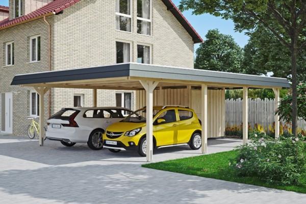 Skan Holz Walmdach-Carport Wendland, Leimholz, 630 x 879 cm, Aluminium-Dachplatten, mit Abstellraum