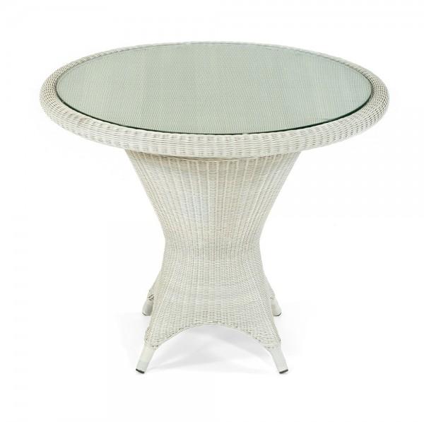 Sonnenpartner Tisch Bonaire, Aluminium / Kunststoffgeflecht white-washed in Loomoptik, Ø 90 cm