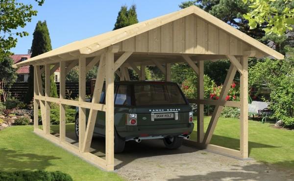 Skan Holz Fachwerk-Carport Schwarzwald, Konstruktionsvollholz, 424 x 772 cm, mit Dachschalung