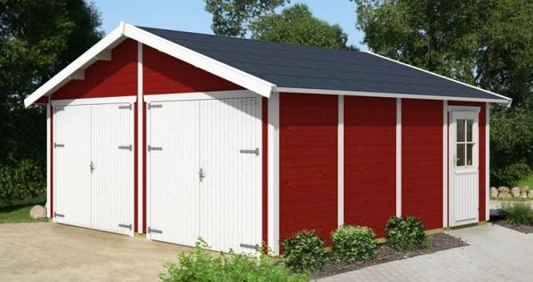 Skan Holz Holzgarage Varberg 3, 45 mm, 570 x 525 cm, schwedenrot/weiß