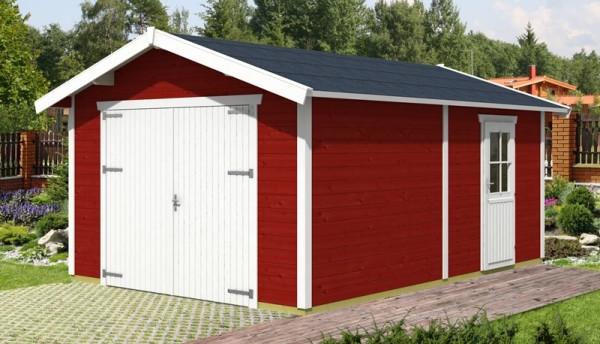 Skan Holz Holzgarage Varberg 1, 45 mm, 370 x 525 cm, schwedenrot/weiß