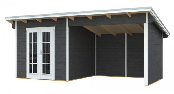 Skan Holz Gartenhaus Texel, 550 x 250 cm, 28 mm, schiefergrau