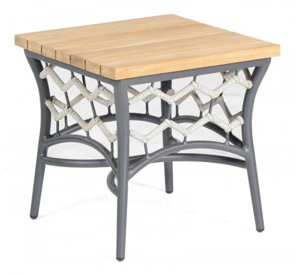 Sonnenpartner Lounge-Beistelltisch Yale, Aluminium / Polyrope silbergrau / Teakholz