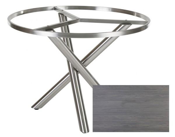 Diamond Garden Tisch San Marino rund, Edelstahl/Fleetwood Pine anthrazit, Ø 120 cm