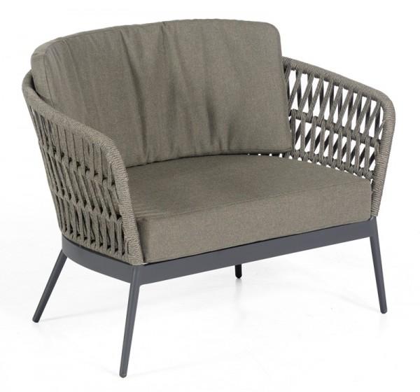 Sonnenpartner Lounge-Sessel Advokat, Aluminium anthrazit / Polyrope grau, inkl. Kissen