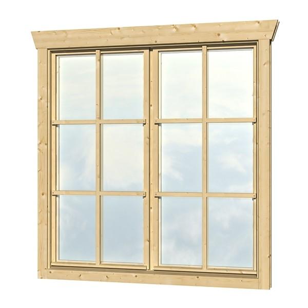 Skan Holz Dreh-Kipp-Doppelfenster 2 x 57,5 x 123,5 cm für 45 mm Blockbohlen
