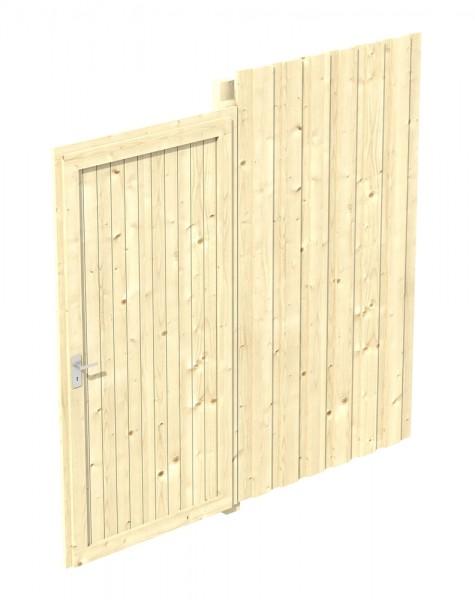 Skan Holz Seitenwand mit Tür 230 x 220 cm, Deckelschalung, Nadelholz