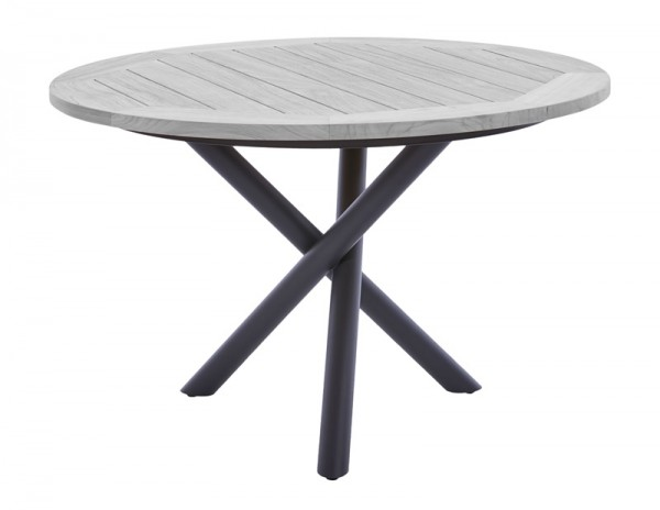 Diamond Garden Tisch San Marino rund, Edelstahl dunkelgrau/Recycled Teak Seawash, Ø 120 cm