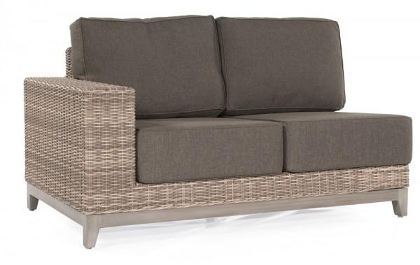 Sonnenpartner Lounge-Eckmodul Thor, 2-Sitzer links, Alu/Kunststoffgeflecht white-coral, inkl. Kissen