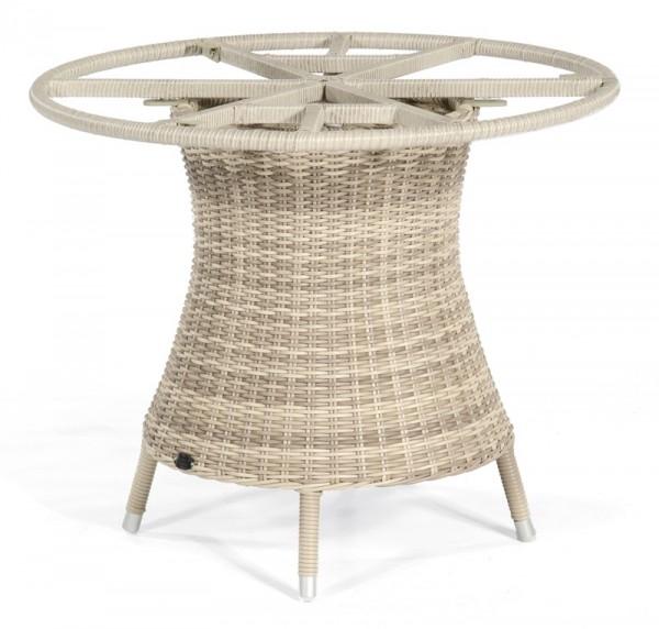 Sonnenpartner Tisch Base-Polyrattan rund, Kunststoffgeflecht white-coral, Ø 100 cm