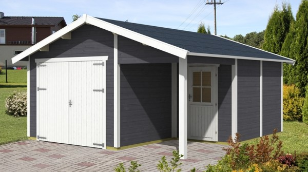 Skan Holz Holzgarage Visby 2, 28 mm, 500 x 525 cm, schiefergrau/weiß