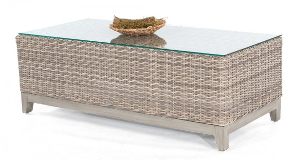 Sonnenpartner Lounge-Tisch Thor, Aluminium / Kunststoffgeflecht white-coral