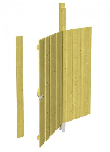 Skan Holz Seitenwand mit Tür 141 x 180 cm, Deckelschalung, imprägniertes Nadelholz