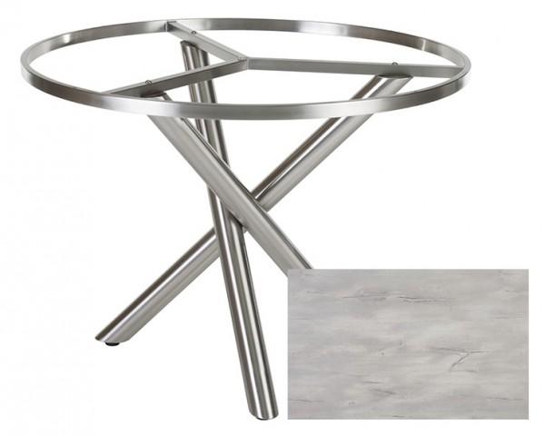 Diamond Garden Tisch San Marino rund, Edelstahl/Nautic Oak, Ø 120 cm