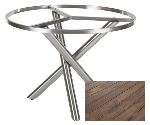 Diamond Garden Tisch San Marino rund, Edelstahl/Recycled Teak Gealtert, Ø 120 cm
