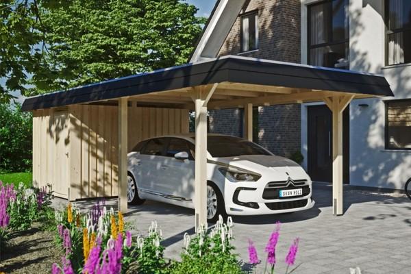 Skan Holz Walmdach-Carport Wendland, Leimholz, 362 x 870 cm, Aluminium-Dachplatten, mit Abstellraum