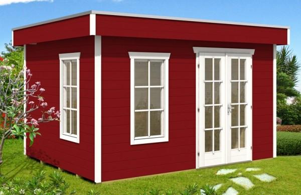 Skan Holz Gartenhaus Breda 2, 380 x 380 cm, 28 mm, schwedenrot