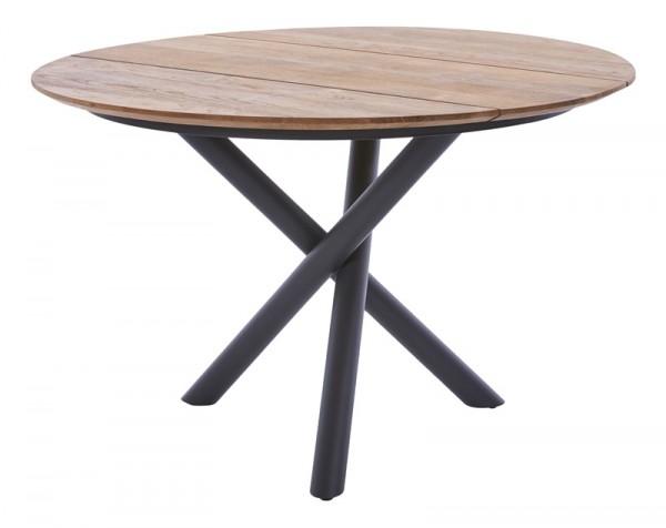 Diamond Garden Tisch San Marino rund, Edelstahl, dunkelgrau/3 Planken, Recycled Teak Natur, Ø 120 cm