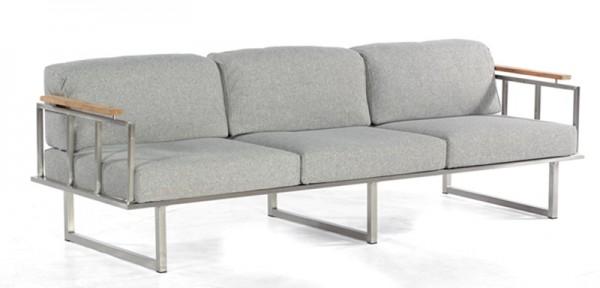 Sonnenpartner Lounge-Sofa Lotus, 3-Sitzer, Edelstahl / Teak