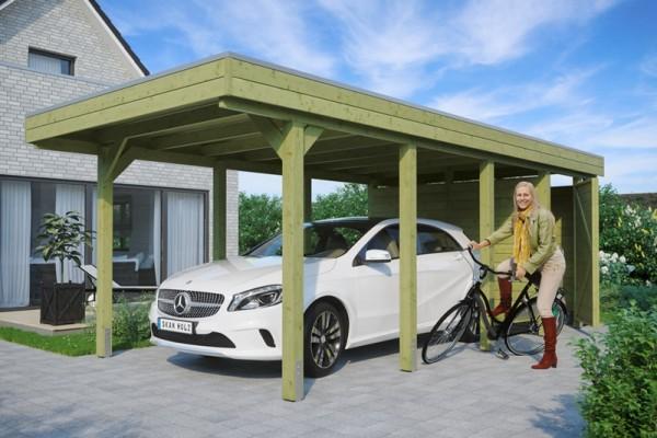 Skan Holz Flachdach-Carport Friesland 314 x 708 cm, Aluminium-Dachplatten, mit Abstellraum