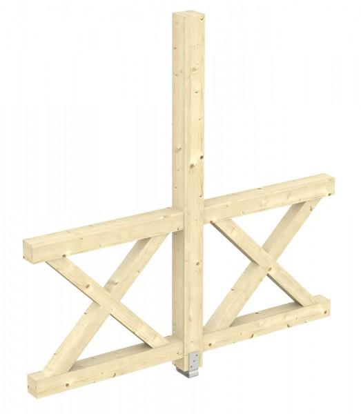 Skan Holz Seitenwand 193 x 210 cm, Andreaskreuz, für freistehende Leimholz-Terrassenüberdachungen