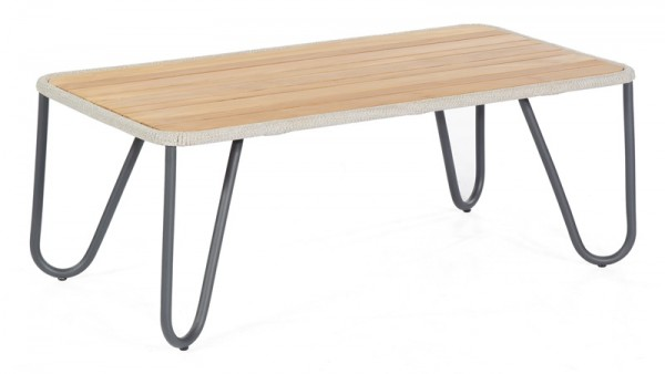 Sonnenpartner Lounge-Tisch Charité, Aluminium / Kunststoffgeflecht Polyrope silbergrau / Teakholz