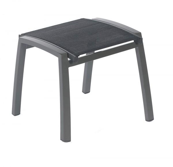 Sonnenpartner Hocker Florida, Aluminium anthrazit / Textilgewebe schwarz