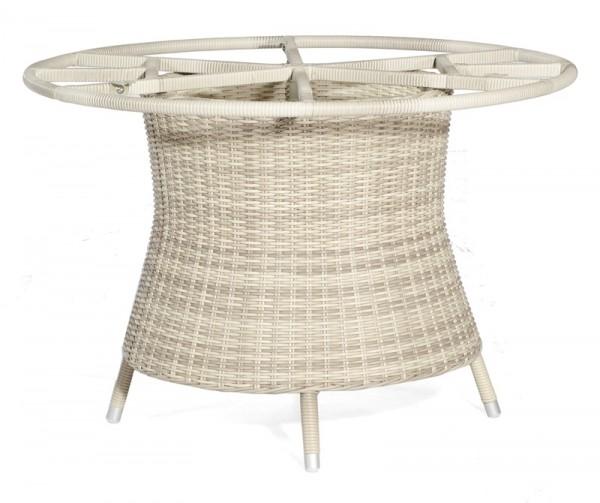 Sonnenpartner Tisch Base-Polyrattan rund, Kunststoffgeflecht white-coral, Ø 134 cm