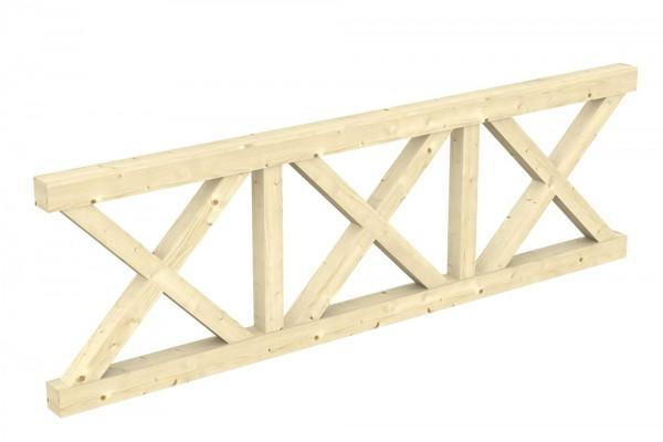 Skan Holz Brüstung 270 x 84 cm, Andreaskreuz, für Leimholz-Terrassenüberdachungen