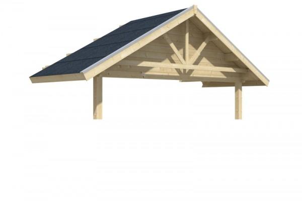 Skan Holz Vordach-Verlängerung für Gartenhaus Bern 212 x 420 cm, unbehandelt