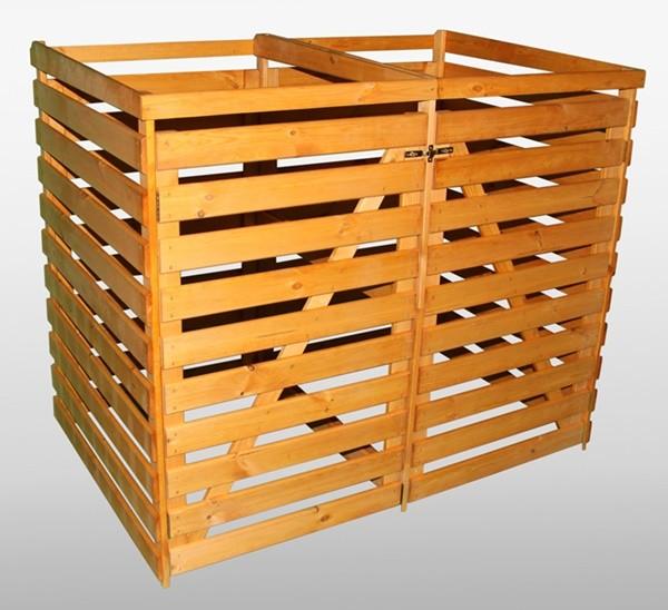Promadino Mülltonnendoppelbox ohne Deckel, honigbraun