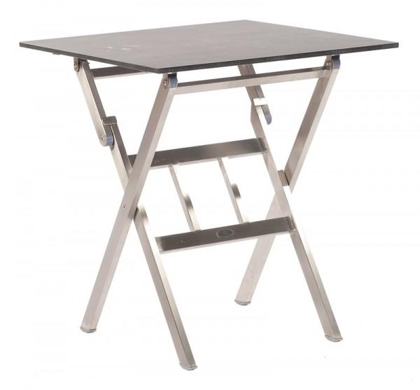 Abbildung zeigt den Tisch mit Tischplatte in Keramikoptik.