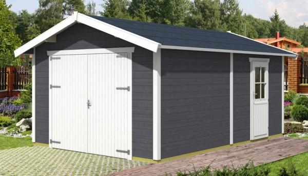 Skan Holz Holzgarage Visby 1, 28 mm, 370 x 525 cm, schiefergrau/weiß